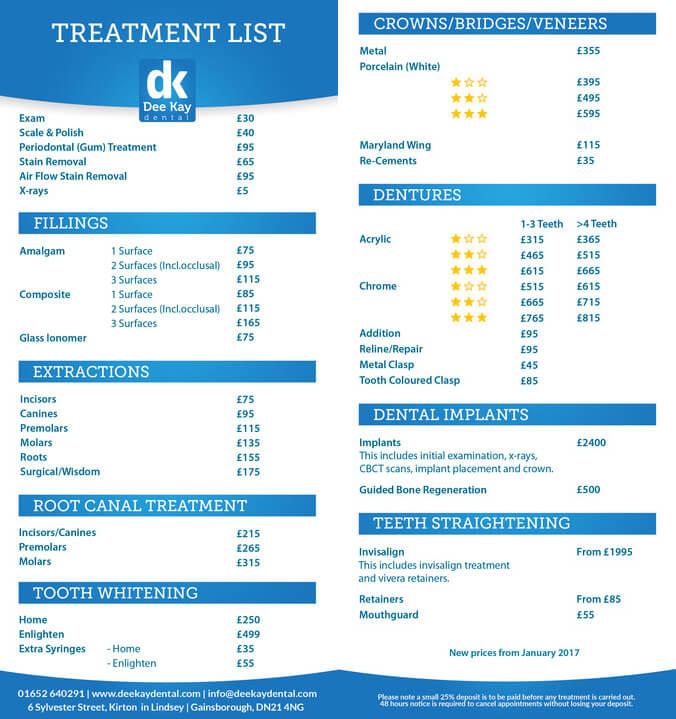 Dee Kay Dental Fees